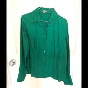 Ann Taylor Kelly Green silk Long sleeve blouse L